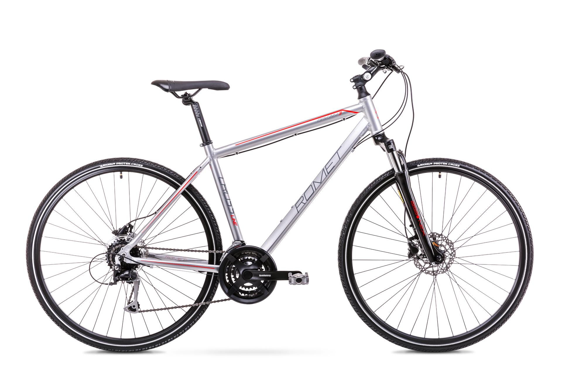 Bicicleta de trekking pentru Barbati Romet Orkan 3 M Argintiu/Rosu 2019