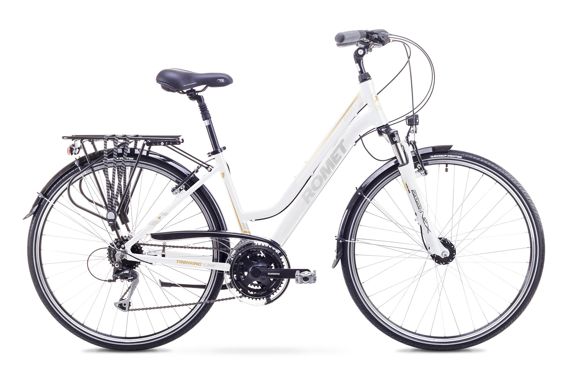 Bicicleta de trekking/oras pentru Femei Romet GAZELA 3 LIMITED Alb/Argintiu 2018