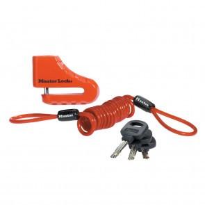 Antifurt frana disc 80mm pentru motocicleta/scuter/moped Master Lock inchidere cu cheie si cablu spiralat de atentionare Rosu
