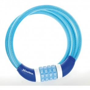 Antifurt Master Lock cablu spiralat cu cifru 1.2m x 10mm Albastru