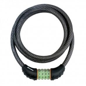Antifurt Master Lock cablu spiralat cu cifru iluminat 1.8m x 12mm Negru