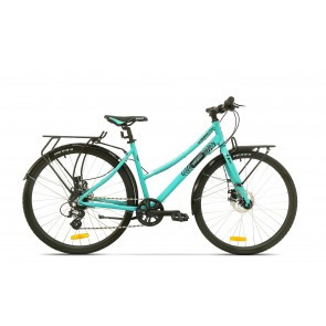 Bicicleta de oras pentru femei Pegas Hoinar 8S Turcoaz Mofturos