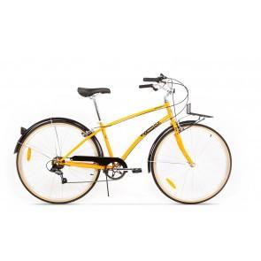 Bicicleta de oras pentru femei Pegas Popular 7 viteze Otel Portocaliu Neon