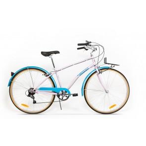 Bicicleta de oras pentru femei Pegas Popular 7 viteze Otel Roz Bujor