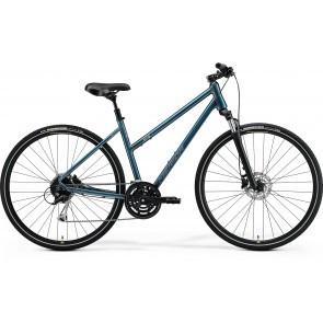 Bicicleta de trekking pentru femei Merida Crossway 100 Lady Turcoaz/Albastru Argintiu 2021