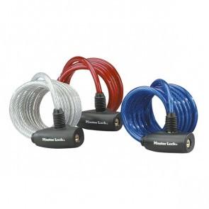 Antifurt Master Lock cablu spiralat cu cheie 1.80m x 8mm - diverse culori