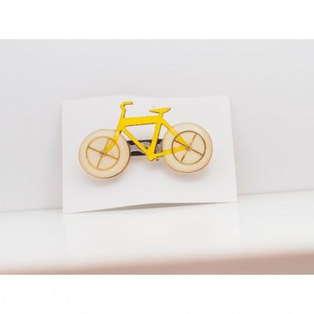 Brosa bicicleta din lemn lucrata manual - diverse culori