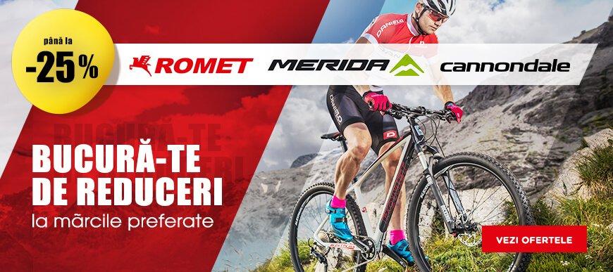 Reduceri -25% pentru biciclete Merida, Romet, Cannondale